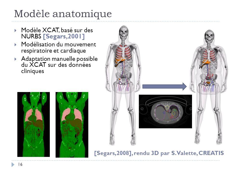 Modèle anatomique Modèle XCAT, basé sur des NURBS [Segars,2001]